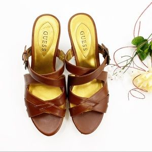 Guess Brown Leather Strappy Cork Wedge Platform